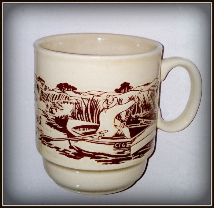 Cana ceramica vintage, pescari in barca - Coloroll-Kilnkraft -  Anglia