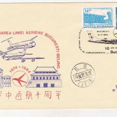 Bnk fil Plic ocazional - TAROM 10 ani de la primul zbor Bucuresti Beijing