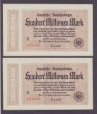 2 BANCNOTE GERMANIA-SERII CONSECUTIVE-DEUTSCHE REICHSBAHN-100.000.000 MARK 1923