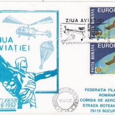 Bnk fil Ziua aviatiei 1992 - carte postala - corespondenta parasutata