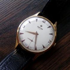 Ceas mecanic barbatesc FESTINA anul 1952, placat cu aur 18k, marcat 625 si G10 - Ceas barbatesc Festina, Lux - elegant, Mecanic-Manual, Piele, Rezistent la apa