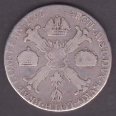 MONEDA DIN ARGINT AUSTRIA PENTRU OLANDA - KRONENTHALER 1796, LIT. F, LITERA RARA, Europa