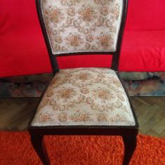 6 scaune tapisate, model art Deco, din lemn de mahon, lucrate manual., Dupa 1950