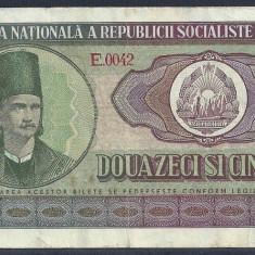 ROMANIA 25 LEI 1966, VF [6] P-95a - Bancnota romaneasca