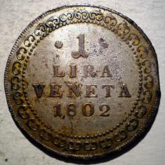 G.034 ITALIA VENETIA OCUPATIE AUSTRIACA 1 LIRA VENETA 1802 ARGINT 7, 8g RARA, Europa