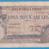 (2) BANCNOTA ROMANIA - 100.000 LEI 1945 (7 AUGUST 1945) - FILIGRAN BNR ORIZONTAL - Bancnota romaneasca