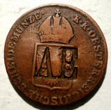 G.021 AUSTRIA 1 EIN KREUZER 1816 B CONTRAMARCA AE, Europa, Cupru (arama)