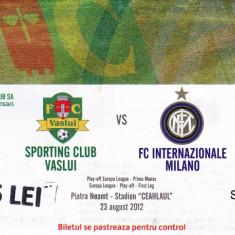 Bilet meci fotbal FC VASLUI - INTERNAZIONALE MILANO 23.08.2012