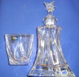 Cristal BOHEMIA set 6 pahare cu sticla  whisky   model  clar - rasucit  240 ml