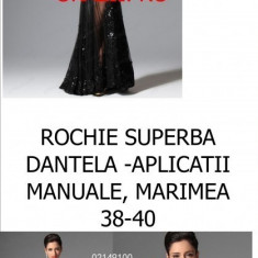 ROCHIE SUPERBA OKAZII SPECIALE, DANTELA, LIVRARE GRATUITA - Rochie de seara, Marime: M, L, Culoare: Negru, Maxi, Lunga