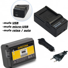 PATONA | Incarcator 4in1 + Acumulator compatibil Sony NP-FW50 NP FW50 NPFW50 - Incarcator Aparat Foto