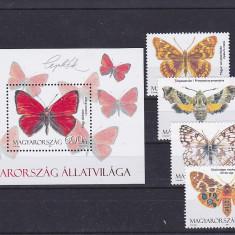 Fauna, fluturi, Ungaria. - Timbre straine, Nestampilat