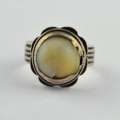 Inel argint vechi, anturaj os, design clasic, perioada postbelica, lucrat manual, 57 - 67
