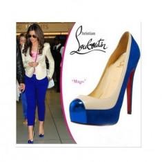 Pantofi piele Christian Louboutin MAGO - PE STOC - Super Promotie!!! - Pantof dama Christian Louboutin, Culoare: Albastru, Marime: 39, Piele naturala, Cu toc