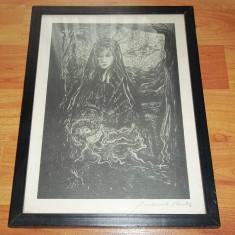 Tablou grafica semnat - Pictor strain, Religie, Cerneala, Suprarealism