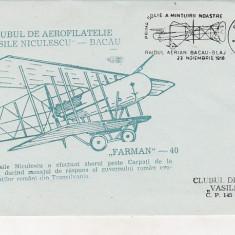 Bnk fil Plic ocazional Raidul aerian Bacau Blaj 1918 -1990 Vasile Niculescu