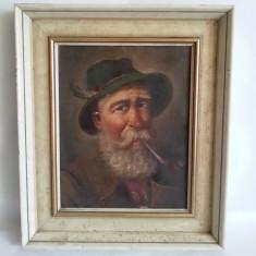 Tablou pictat in ulei pe panza cu rama superba din lemn mosu cu pipa 41cm/35cm - Tablou autor neidentificat, Istorice, Altul