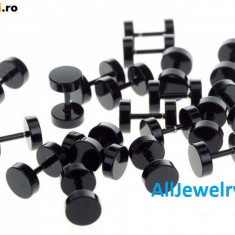 Cercei Baieti Barbati BARBELL - 10 mm Negru Metalic - Calitate Premium - Cercei Fashion