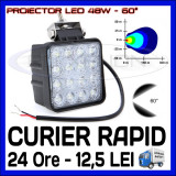 PROIECTOR LED PATRAT 12V, 24V - OFFROAD, SUV, UTILAJE - 48W DISPERSIE 60 GRADE, ZDM