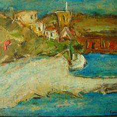 Tablou ulei pe carton, autor roman, peisaj marin. Semnat - Pictor roman, Marine, Impresionism