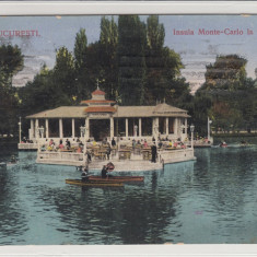 BUCURESTI, INSULA MONTE-CARLO LA CISMIGIU, CIRCULATA 1914 - Carte Postala Muntenia 1904-1918, Printata