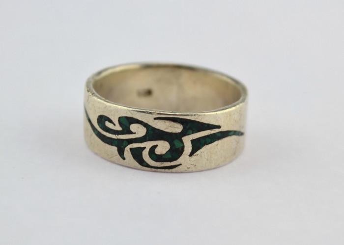 Inel Argint Barbat Decorat Email Insemne Celtice Model Clasic