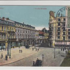 BUCURESTI, CALEA VICTORIEI, TRASURI, ANIMATA, CIRCULATA 1917 - Carte Postala Muntenia 1904-1918, Printata