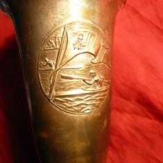 Cupa Trofeu -OSP- FRSN-RPR 1949-CANOTAJ simplu Fete, metal argintat, lemn, 30cm - Caiac Canoe