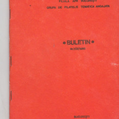 Bnk fil Filiala AFR Bucuresti grupa filatelie tematica angajata buletin 2/1986