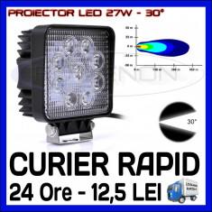 PROIECTOR LED PATRAT 12V, 24V - OFFROAD, SUV, UTILAJE - 27W DISPERSIE 30 GRADE