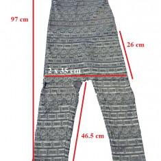 Pantalon Salopeta 3/4 cu bretele si fusta dantela Monesse, marime 36 - Pantaloni dama, Culoare: Albastru, Trei-sferturi