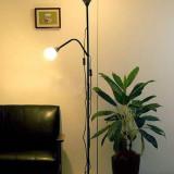 Lampadar (lampa) cu lumina ambientala si veioza pt citit - alb sau negru - Nou - Corp de iluminat, Lampadare