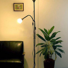 Lampadar (lampa) cu lumina ambientala si veioza pt citit - alb sau negru - Nou