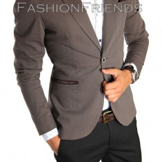 Sacou tip Zara Man maro casual - sacou barbati - sacou bumbac cod 4723, Marime: S, M, L, XL, Culoare: Din imagine