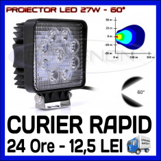PROIECTOR LED PATRAT 12V, 24V - OFFROAD, SUV, UTILAJE - 27W DISPERSIE 60 GRADE