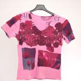 Tricou fete, roz, cu model - Tricou dama, Marime: 38, Maneca scurta, Bumbac
