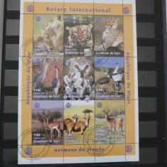 NIGER 1998 FAUNA ANIMALE COLITA STAMPILATA DANTELATA