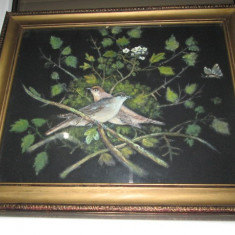 Tablou vechi pictat pe panza- Motiv natural cu pasarele.