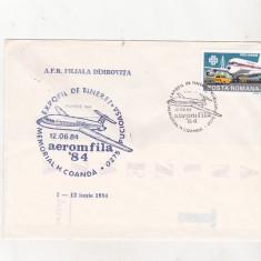 Bnk fil Expofil de tineret - Aeromfila 84 Pucioasa plic ocazional