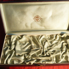 Cutie Bijuterii URSS veche - Firma Iuvelirtorg, Carton, imitatie piele 28x12cm - Cutie Reclama