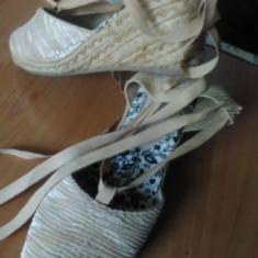 Sandale dama, Culoare: Bej, Marime: 37, Textil