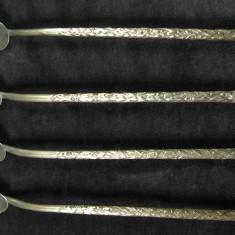 4 LINGURITE PENTRU ABSINT SAU CEAI - ALPACA - COADA LUNGA GAURITA - 20 CM - Metal/Fonta, Altul
