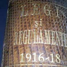 COLECTIUNE DE LEGI SI REGULAMENTE 1916-1918 - Carte de lux