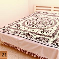 Cuvertura din Bumbac 100% cu Imprimeu Ethic - ( 210cm / 240cm) Model 21 - Cuvertura pat
