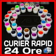 KIT SET 36 MODELE GEL GELURI GD COCO PT LAMPA UV COLOR COLORATE CU SCLIPICI 5ML - Gel unghii Coco, Gel colorat