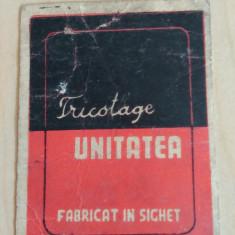 Reclama veche Fabrica Tricotaje/ Tricotage Unitatea - fabricat in Sighet