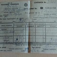 Chitanta 1960 RPR - Hartie cu Antet