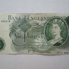 1 Pound Anglia 1970 - 1977 Semnatura Page, lira englezeasca, Marea Britanie