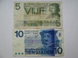 5 gulden 1966 , 10 gulden 1968 Olanda , lot 2 bancnote guldeni olandezi