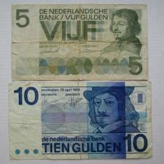 5 gulden 1966, 10 gulden 1968 Olanda, lot 2 bancnote guldeni olandezi